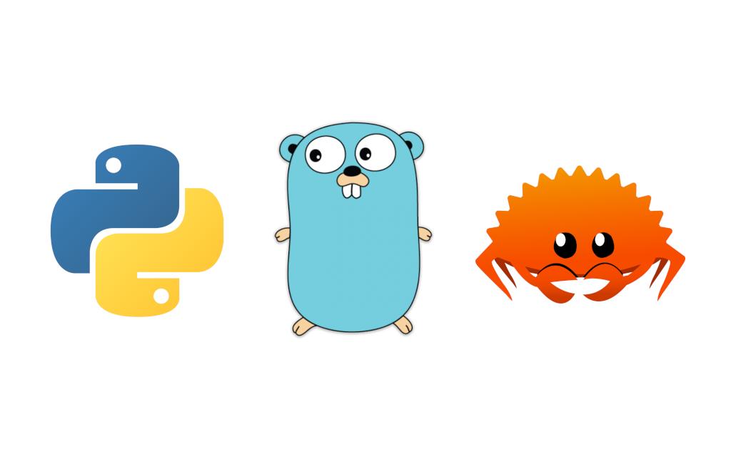 Python, Go, Rust mascots